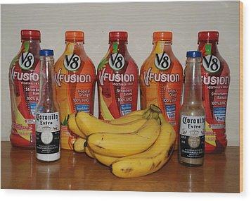 Bottles N Bananas Wood Print by Rob Hans