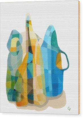 Bottles Still Life Wood Print by Carola Ann-Margret Forsberg