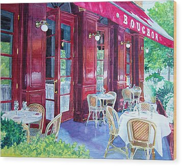 Bouchon Restaurant Outside Dining Wood Print by Gail Chandler