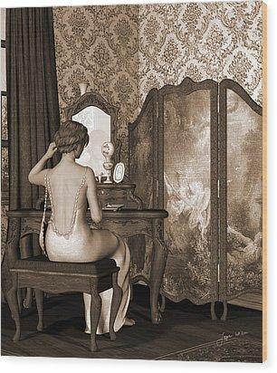 Boudoir Reflection Wood Print by Jayne Wilson