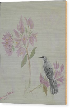 Wood Print featuring the painting Bougainvillea And Mockingbird by Donna Walsh