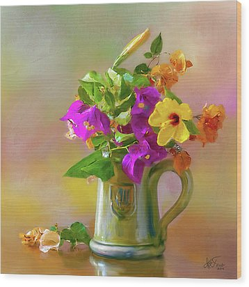 Wood Print featuring the photograph Bougainvilleas In A Green Jar. by Juan Carlos Ferro Duque