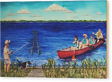 Bouge Sound Summer Outing Wood Print by Jeanette Stewart