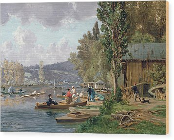 Bougival Wood Print by Emile-Edme Laborne