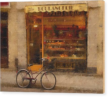 Boulangerie And Bike 2 Wood Print