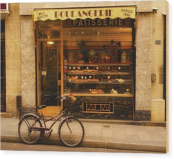 Boulangerie And Bike Wood Print by Mick Burkey
