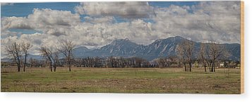 Wood Print featuring the photograph Boulder Colorado Front Range Panorama View by James BO Insogna