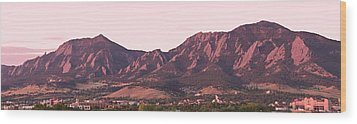Boulder Colorado Flatirons 1st Light Panorama Wood Print