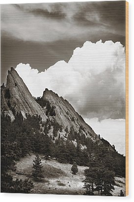 Large Cloud Over Flatirons Wood Print by Marilyn Hunt