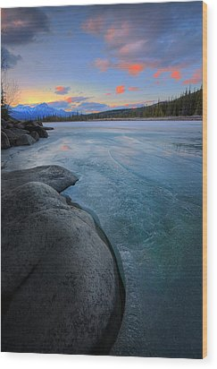 Wood Print featuring the photograph Boulders And Ice On The Athabasca River by Dan Jurak