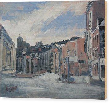 Boulevard La Sauveniere Liege Wood Print by Nop Briex