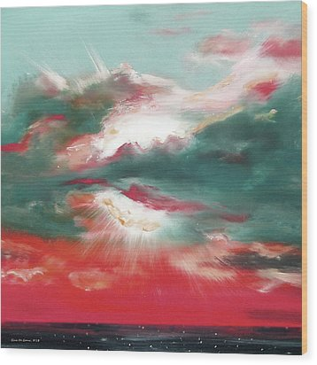 Bound Of Glory 2 - Square Sunset Painting Wood Print by Gina De Gorna