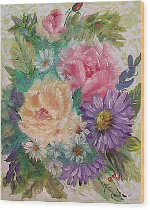 Wood Print featuring the painting Bouquet 2 by Quwatha Valentine