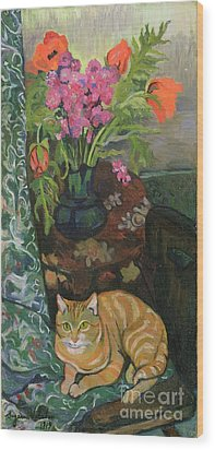 Bouquet And A Cat Wood Print by Marie Clementine Valadon