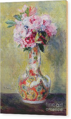 Bouquet In A Vase Wood Print by Pierre Auguste Renoir