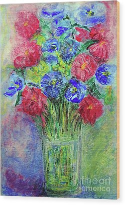 Wood Print featuring the painting Bouquet by Jasna Dragun