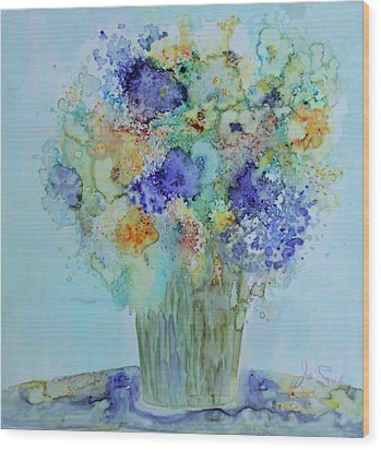 Wood Print featuring the painting Bouquet Of Blue And Gold by Joanne Smoley