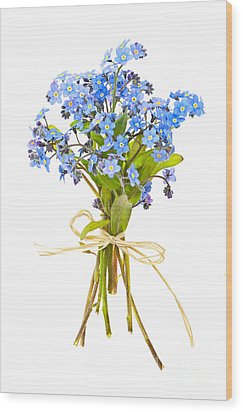 Bouquet Of Forget-me-nots Wood Print by Elena Elisseeva