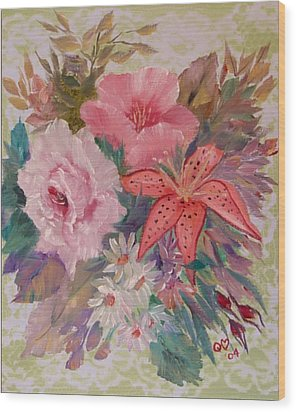 Wood Print featuring the painting Bouquet by Quwatha Valentine