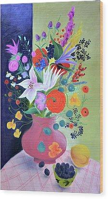Bouquet With Dahlias And Blackberries Wood Print by Tatjana Krizmanic