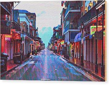 Bourbon Street At Dawn Wood Print by Bill Cannon