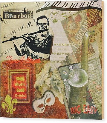 Bourbon Street Collage Wood Print