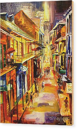 Bourbon Street Glitter Wood Print by Diane Millsap