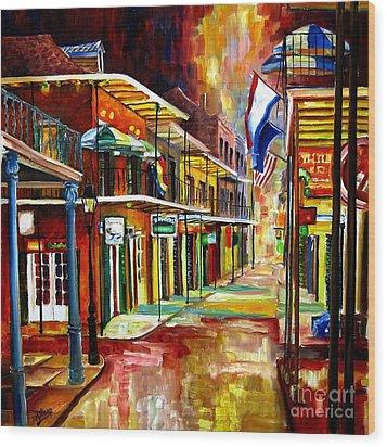 Bourbon Street Lights Wood Print by Diane Millsap