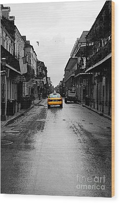 Bourbon Street Taxi French Quarter New Orleans Color Splash Black And White Watercolor Digital Art Wood Print