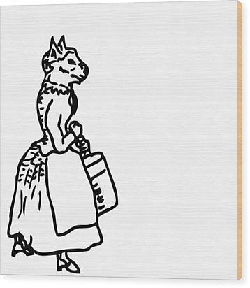 Bourgeois Cat Wood Print by Karl Addison