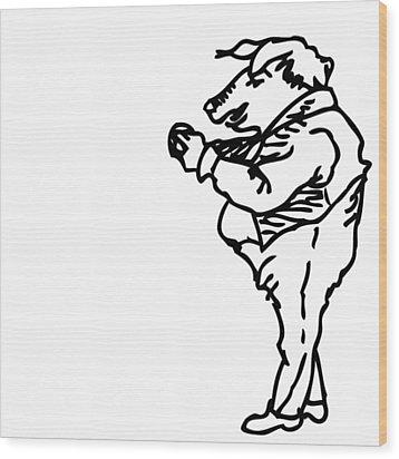 Bourgeoisie Pig Wood Print by Karl Addison