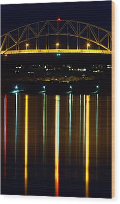 Bourne Bridge At Night Cape Cod Wood Print by Matt Suess