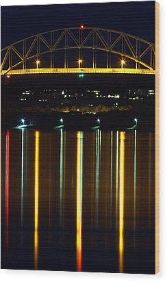 Bourne Bridge At Night Cape Cod Wood Print by Matt Suess