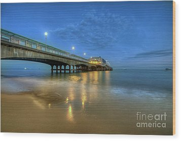 Bournemouth Pier Blue Hour Wood Print by Yhun Suarez