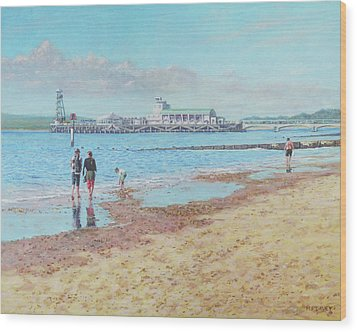 Wood Print featuring the painting Bournemouth Pier Late Summer Morning by Martin Davey