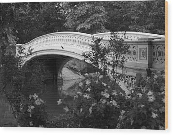Bow Bridge In Central Park Wood Print by Christopher Kirby