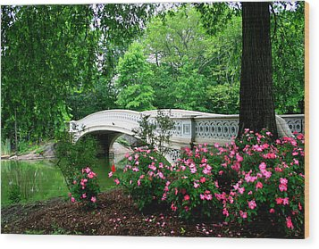 Bow Bridge In Springtime Wood Print by Christopher Kirby