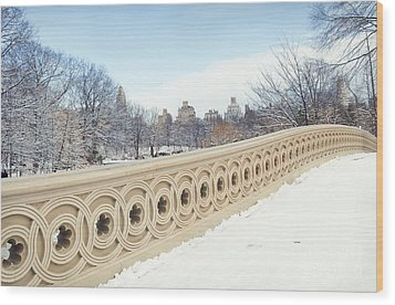 Bow Bridge In Winter The Central Park New York Wood Print by Design Remix