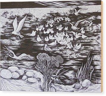 Bow River Wood Print by Anna  Duyunova