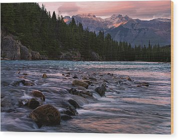 Wood Print featuring the photograph Bow River Sunset Reflections by Dave Dilli