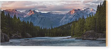 Wood Print featuring the photograph Bow River Sunset Reflections Panorama by Dave Dilli