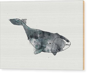 Bowhead Whale From Whales Chart Wood Print by Amy Hamilton