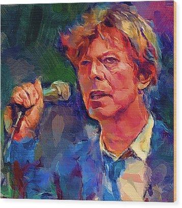 Bowie Singing 2 Wood Print