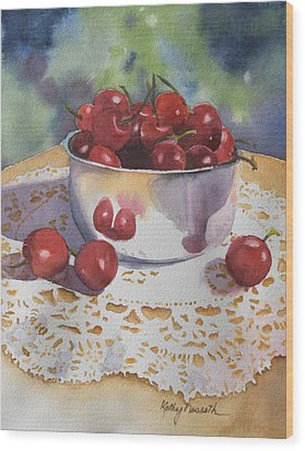 Bowl Of Cherries Wood Print by Kathy Nesseth