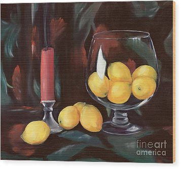 Bowl Of Lemons Wood Print