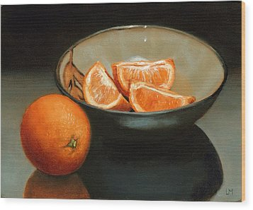 Bowl Of Oranges Wood Print