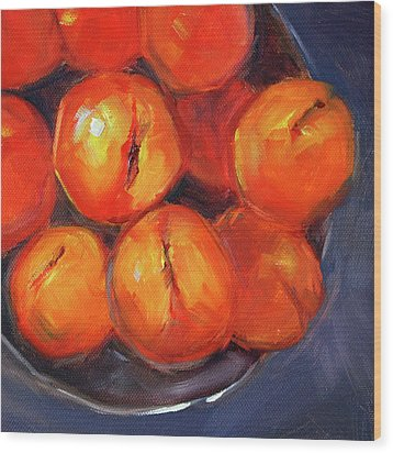 Wood Print featuring the painting Bowl Of Peaches Still Life by Nancy Merkle