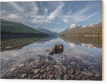Bowman Lake Rocks Wood Print