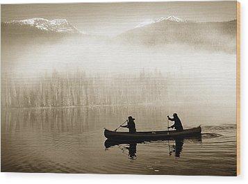 Bowron Lks. Canoe Wood Print by John  Bartosik