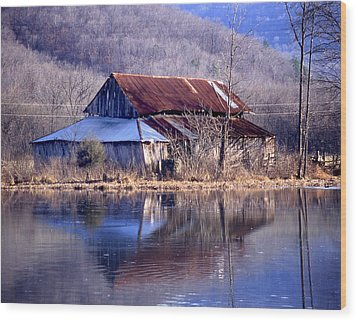Boxely Barn Reflection Wood Print by Curtis J Neeley Jr